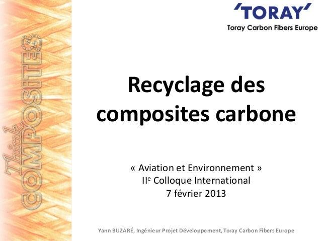 Recyclage des composites carbone « Aviation et Environnement » IIe Colloque International 7 février 2013  Yann BUZARÉ, Ing...