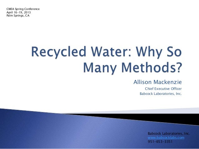 Recycled water  why so many methods- share