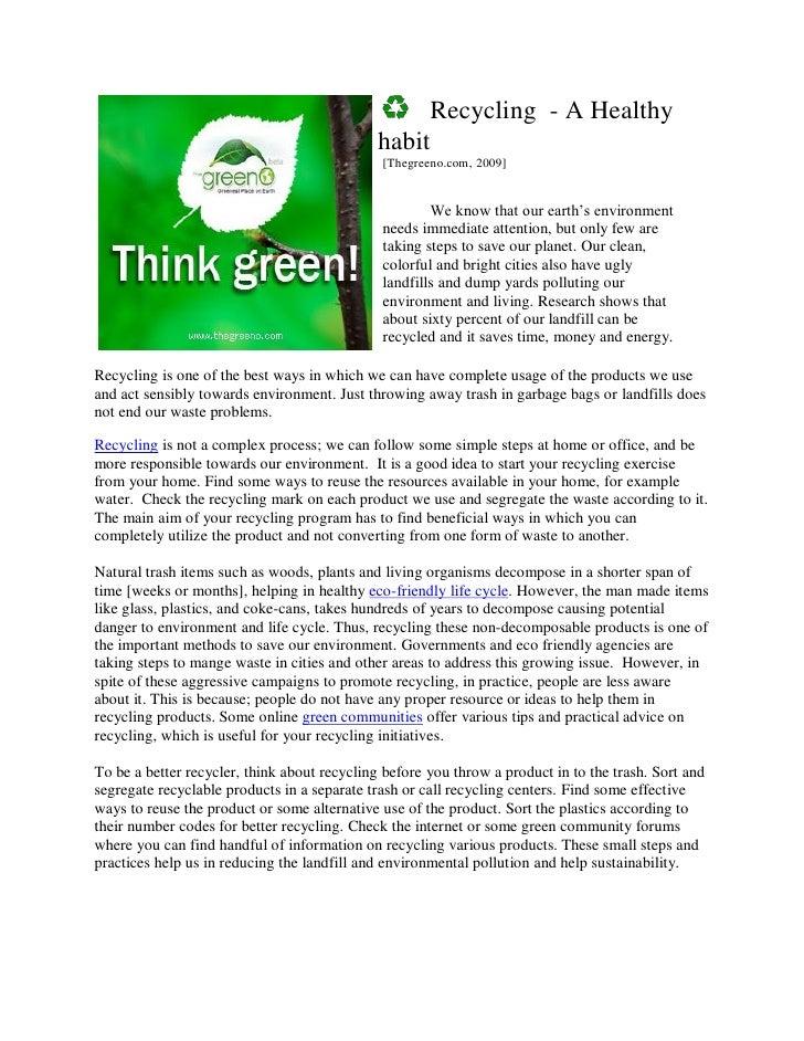 Recycling   Healthy Habit
