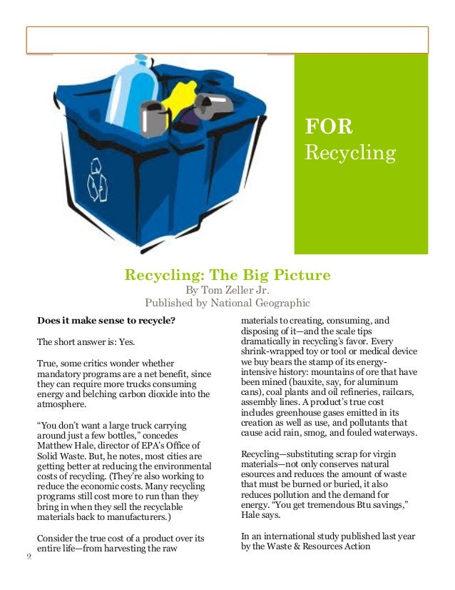 essay about recycling introduction Essays related to recycle 1 mandatory recycling hence, some environmentalists began to advocate voluntary recycling in 1980s, encouraging our citizens to separate.