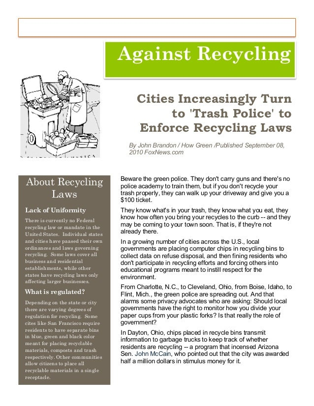 reycling essay Why should we recycle things is recycling always the best option a clear and simple look at the issues.