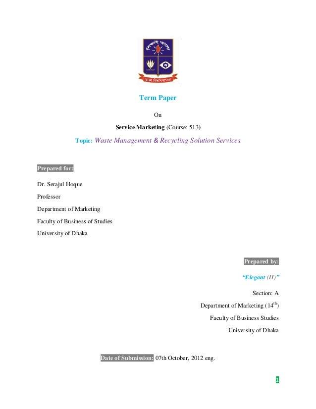 Service marketing Term Paper 1 | Hridi Wajahat Noor