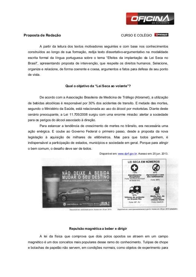 Proposta de Redação           CURSO E COLÉGIO  A partir da leitura dos textos m...
