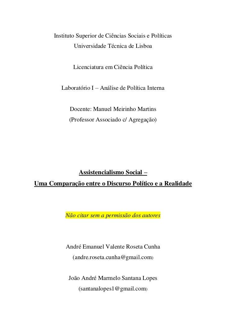 Instituto Superior de Ciências Sociais e Políticas              Universidade Técnica de Lisboa              Licenciatura e...