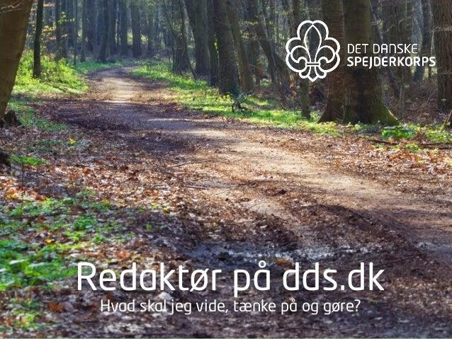 Redaktør på dds.dk - hvad skal du vide, tænke på og gøre?