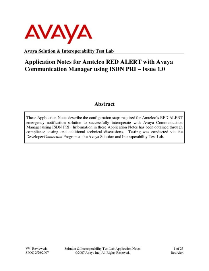 Avaya Solution & Interoperability Test Lab  Application Notes for Amtelco RED ALERT with Avaya Communication Manager using...