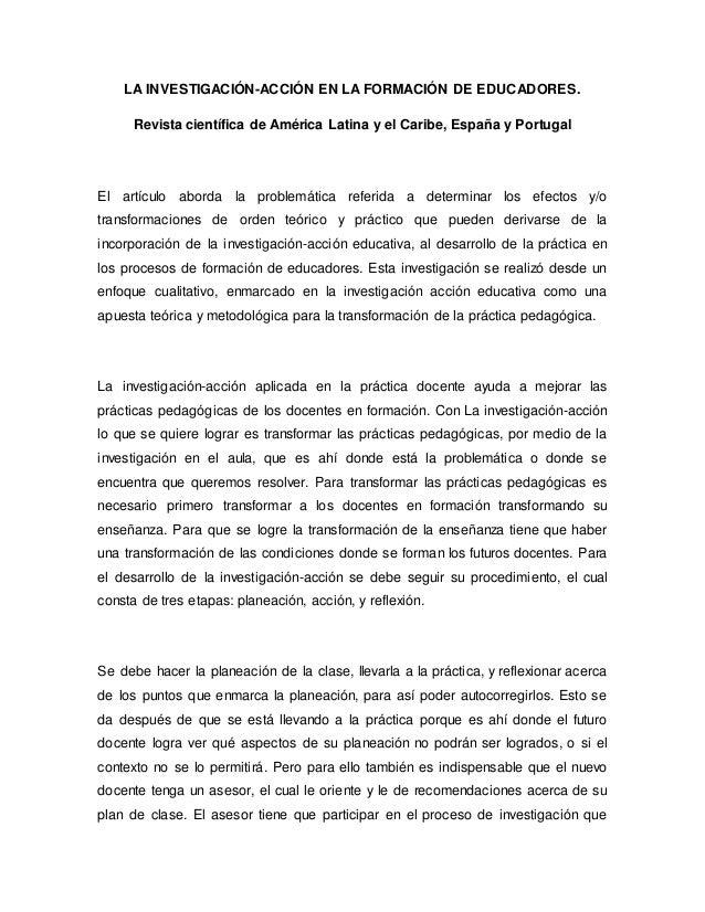LA INVESTIGACIÓN-ACCIÓN EN LA FORMACIÓN DE EDUCADORES.  Revista científica de América Latina y el Caribe, España y Portuga...