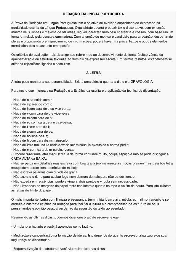 Redação em língua portuguesa