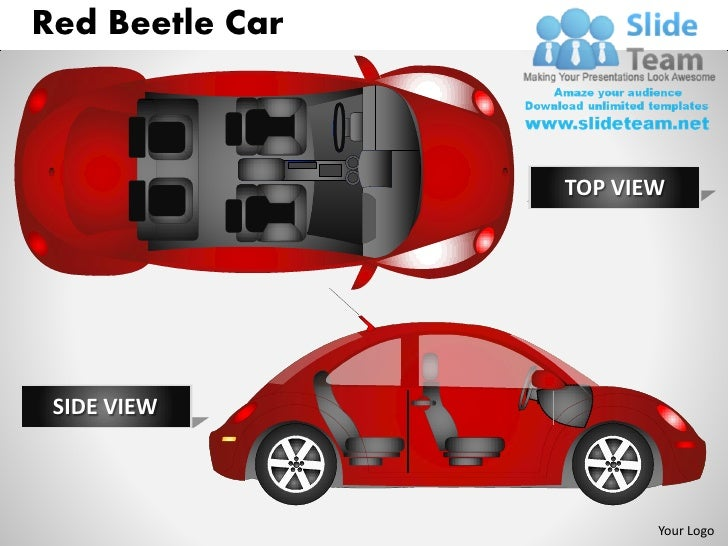 Red beetle car side view powerpoint presentation slides ppt templates