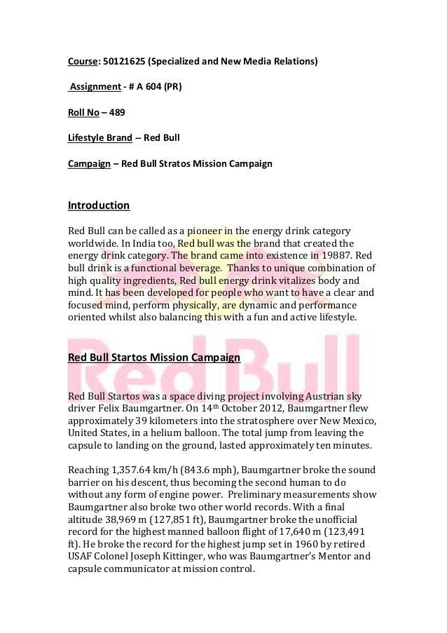 Red bull stratos pr campaign assignment homeworktidy x for Red bull cover letter examples