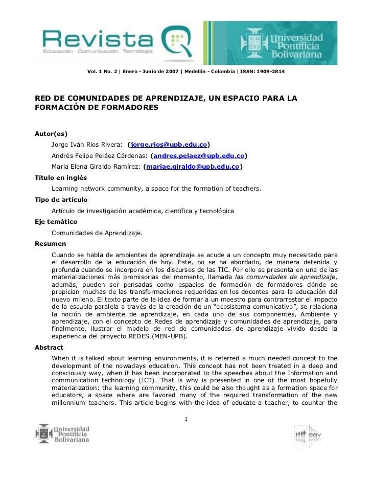 Vol. 1 No. 2 | Enero - Junio de 2007 | Medellín - Colombia | ISSN: 1909-2814RED DE COMUNIDADES DE APRENDIZAJE, UN ESPACIO ...