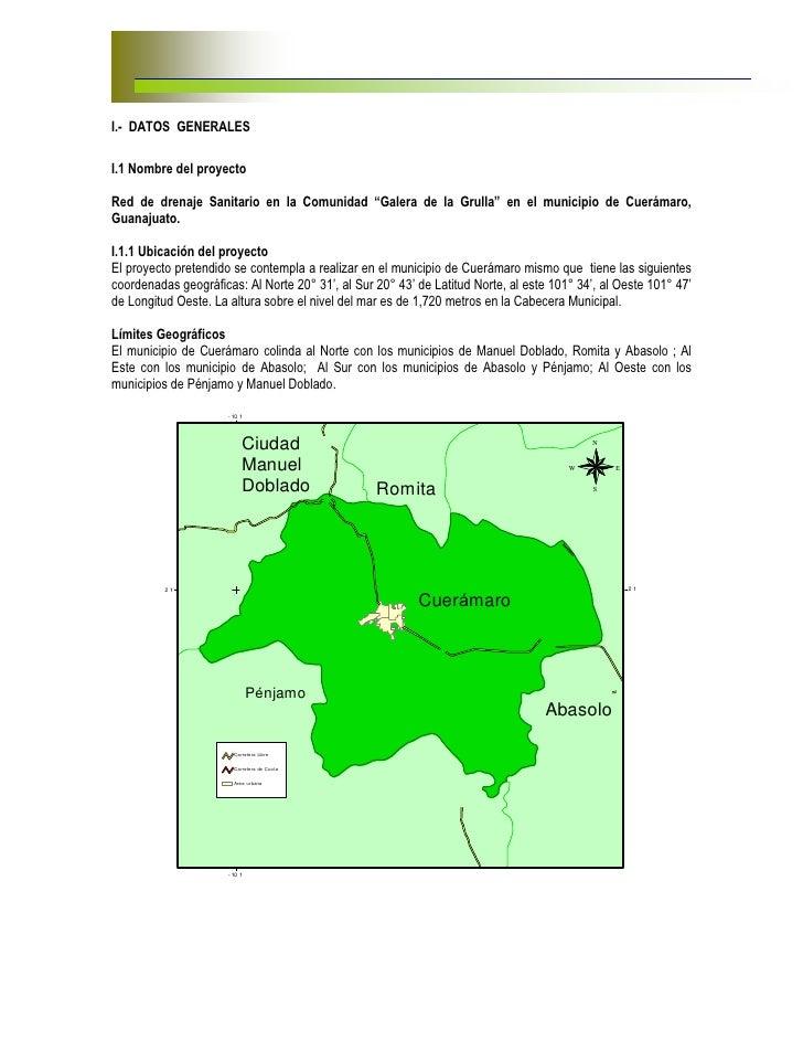 """I.- DATOS GENERALESI.1 Nombre del proyectoRed de drenaje Sanitario en la Comunidad """"Galera de la Grulla"""" en el municipio d..."""