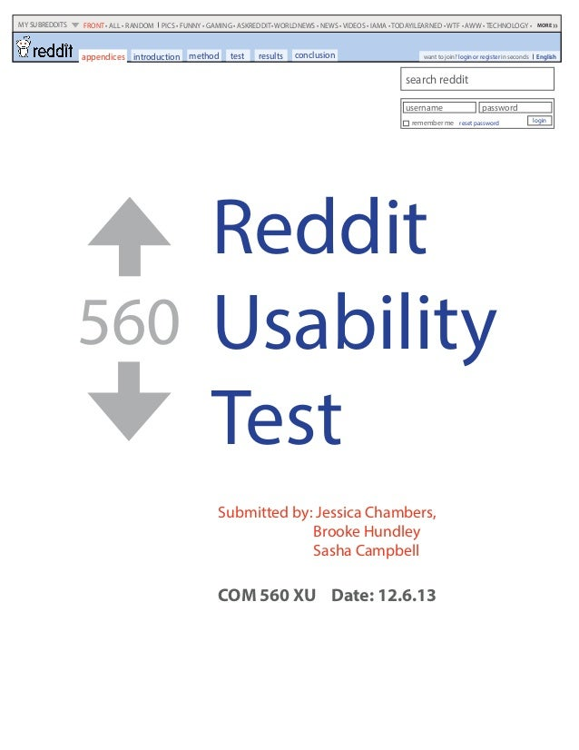 Reddit Usability Test 560 Submitted by: Jessica Chambers, Brooke Hundley Sasha Campbell COM 560 XU Date: 12.6.13 method te...