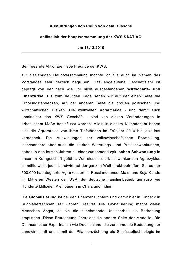 Ausführungen von Philip von dem Bussche          anlässlich der Hauptversammlung der KWS SAAT AG                          ...