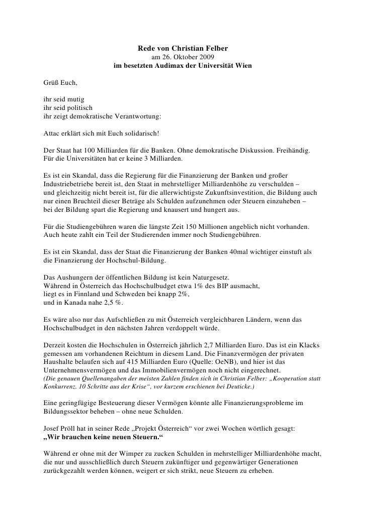 Rede von Christian Felber                                     am 26. Oktober 2009                         im besetzten Aud...