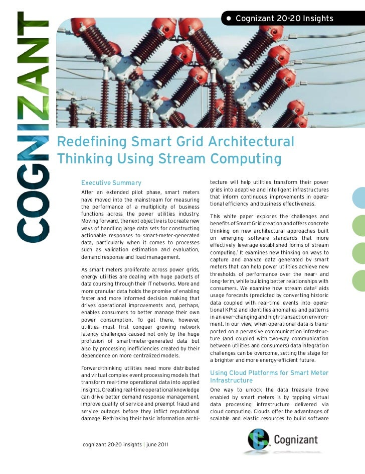 Redefining Smart Grid Architectural Thinking Using Stream Computing