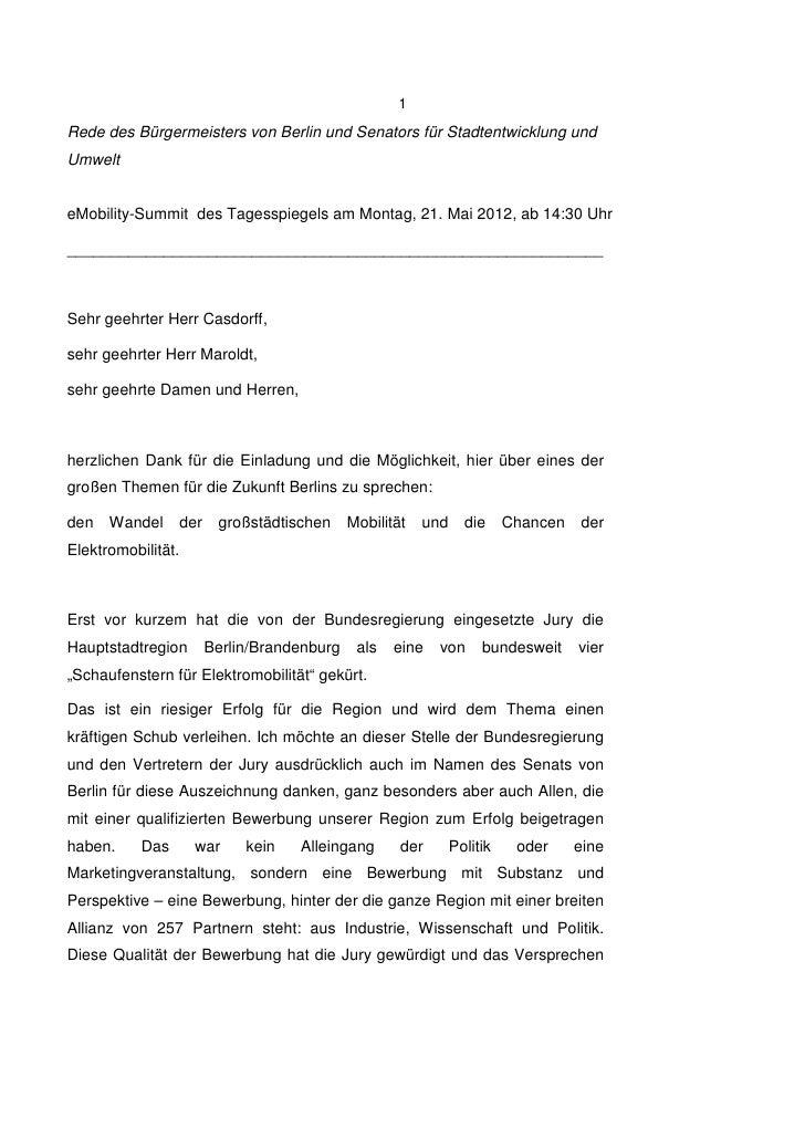 Rede von Michael Müller, Bürgermeister und Senator für Stadtentwicklung und Umwelt des Landes Berlin, auf dem eMobility Summit am 21. Mai 2012