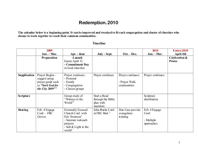 Redemption.2010 The calendar below is a beginning point. It can be improved and tweaked to fit each congregation and clust...