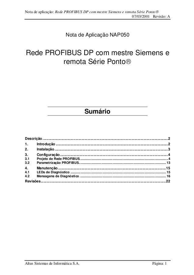 Nota de aplicação: Rede PROFIBUS DP com mestre Siemens e remota Série Ponto 07/03/2001 Revisão: A Altus Sistemas de Infor...