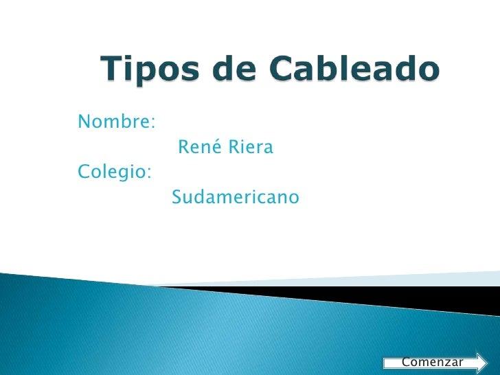Nombre:            René Riera Colegio:            Sudamericano                               Comenzar
