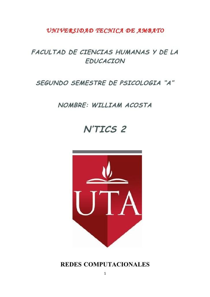 UNIVERSIDAD TECNICA DE AMBATO   FACULTAD DE CIENCIAS HUMANAS Y DE LA              EDUCACION    SEGUNDO SEMESTRE DE PSICOLO...