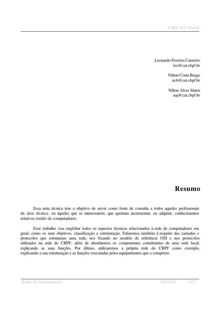 CBPF-NT-004/98                                                                                  Leonardo Ferreira Carneiro...