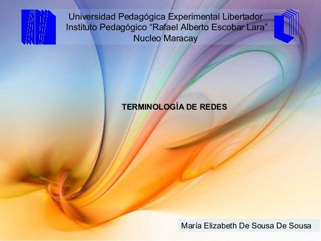 "María Elizabeth De Sousa De Sousa Universidad Pedagógica Experimental Libertador Instituto Pedagógico ""Rafael Alberto Esco..."