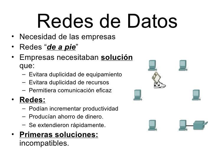 """Redes de Datos <ul><li>Necesidad de las empresas </li></ul><ul><li>Redes """" de a pie """" </li></ul><ul><li>Empresas necesitab..."""