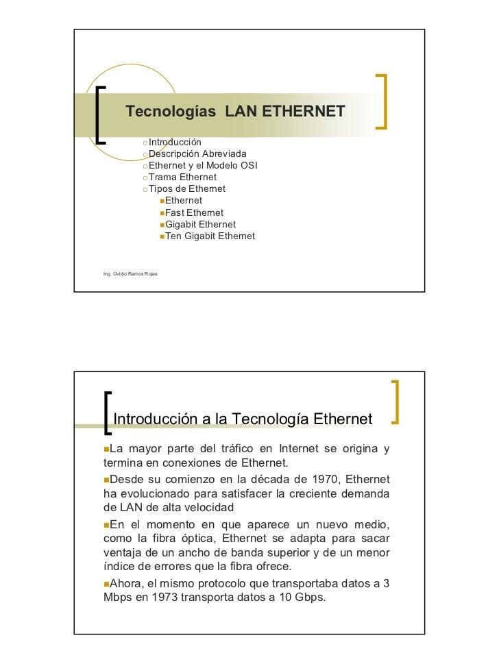 Tecnologías LAN ETHERNET                    Introducción                    Descripción Abreviada                    Ether...