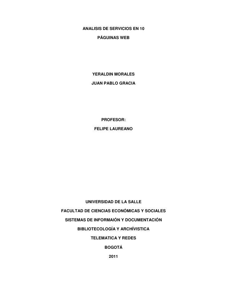 ANALISIS DE SERVICIOS EN 10              PÁGUINAS WEB            YERALDIN MORALES            JUAN PABLO GRACIA            ...