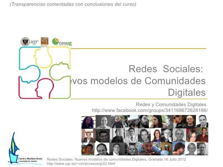 (Transparencias comentadas con conclusiones del curso)                                     Redes Sociales:                ...