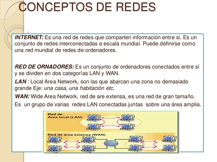 CONCEPTOS DE REDES<br />INTERNET: Es una red de redes que comparten información entre si. Es un conjunto de redes intercon...
