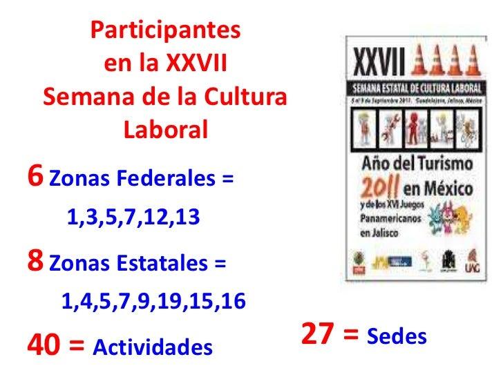 Participantes     en la XXVII Semana de la Cultura      Laboral6 Zonas Federales =   1,3,5,7,12,138 Zonas Estatales =   1,...