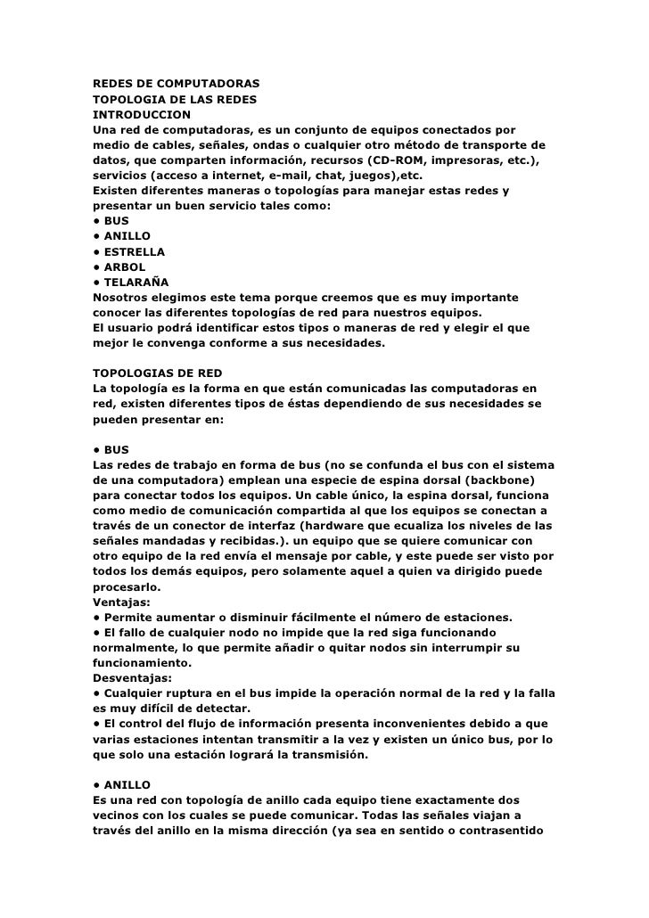 REDES DE COMPUTADORASTOPOLOGIA DE LAS REDESINTRODUCCIONUna red de computadoras, es un conjunto de equipos conectados por m...