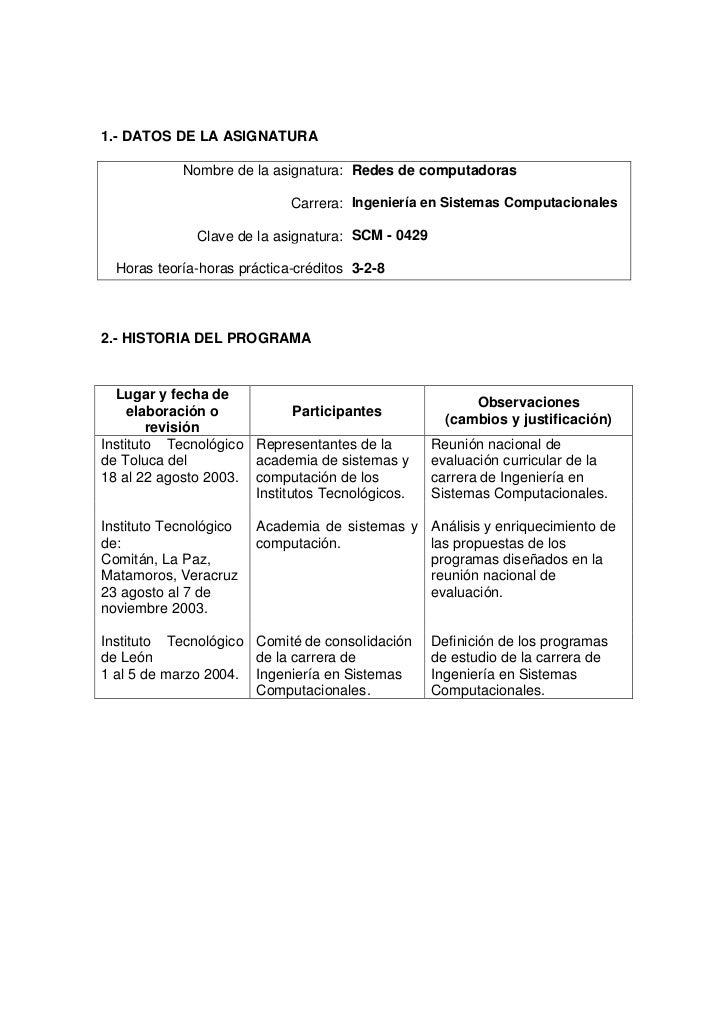 1.- DATOS DE LA ASIGNATURA            Nombre de la asignatura: Redes de computadoras                             Carrera: ...
