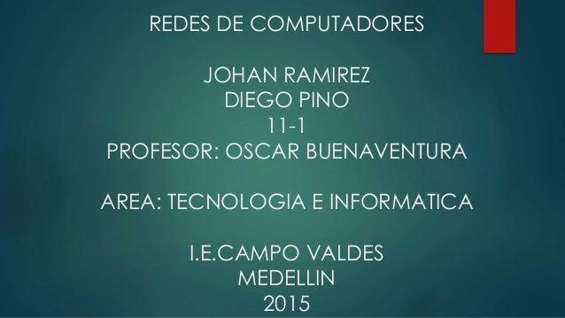 REDES DE COMPUTADORES JOHAN RAMIREZ DIEGO PINO 11-1 PROFESOR: OSCAR BUENAVENTURA AREA: TECNOLOGIA E INFORMATICA I.E.CAMPO ...