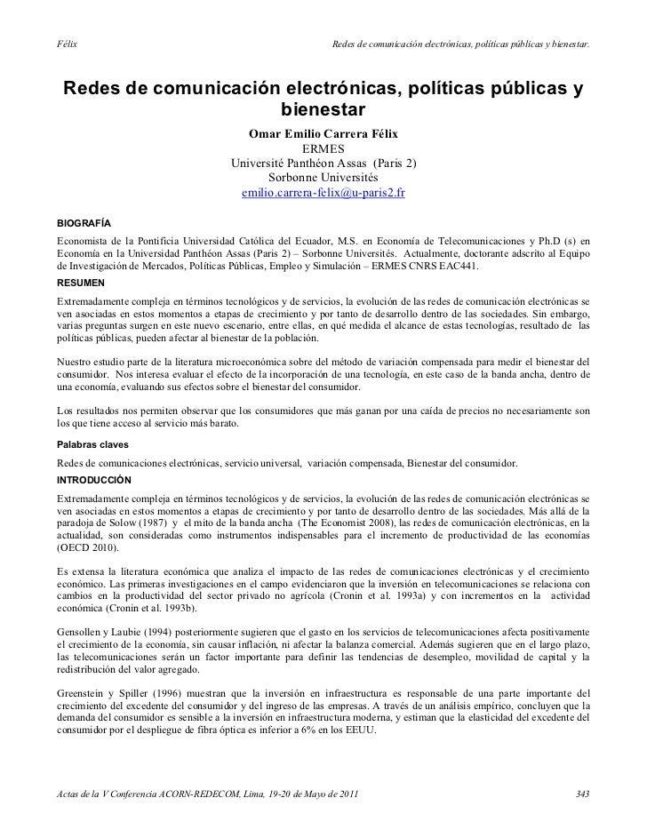 Félix                                                           Redes de comunicación electrónicas, políticas públicas y b...