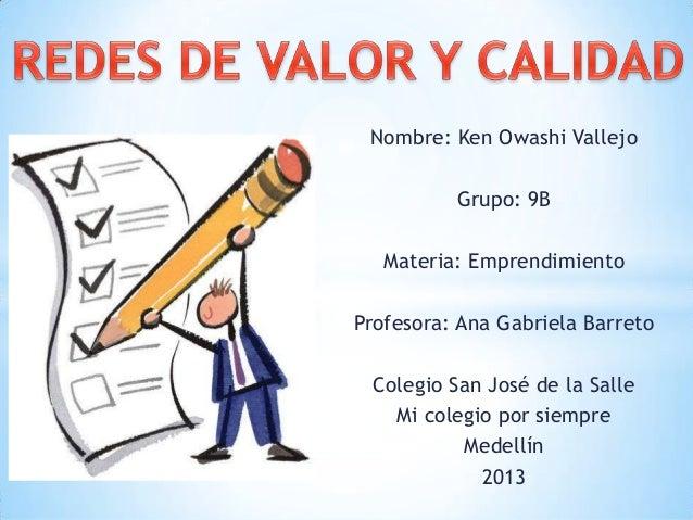 Nombre: Ken Owashi Vallejo Grupo: 9B Materia: Emprendimiento Profesora: Ana Gabriela Barreto Colegio San José de la Salle ...