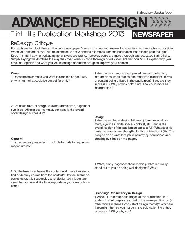 Advanced ReDesign NewspaperFlint Hills Publication Workshop 2013 Instructor- Jackie Scott For each section, look through t...