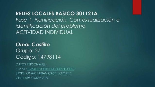 REDES LOCALES BASICO 301121A Fase 1: Planificación. Contextualización e identificación del problema ACTIVIDAD INDIVIDUAL O...
