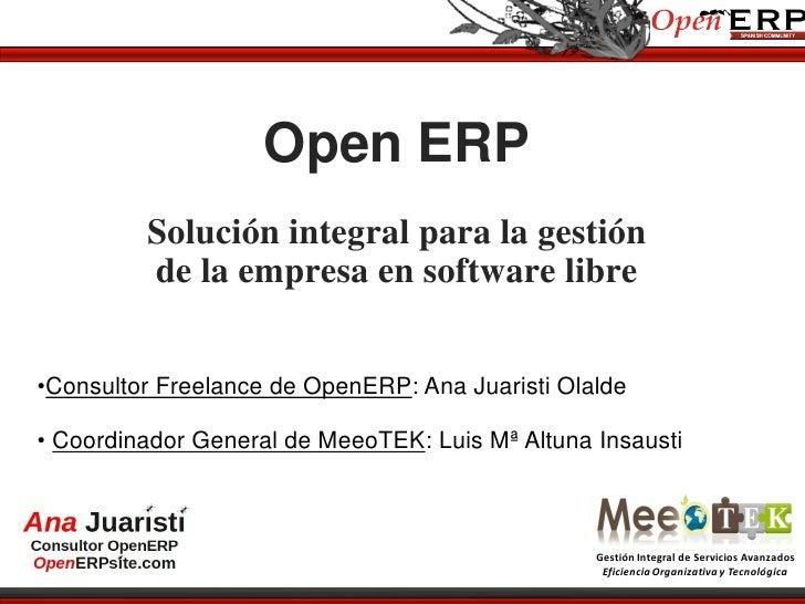 Gestión integral con OpenERP. MeeoTEK, Ana Juaristi y LMAltuna