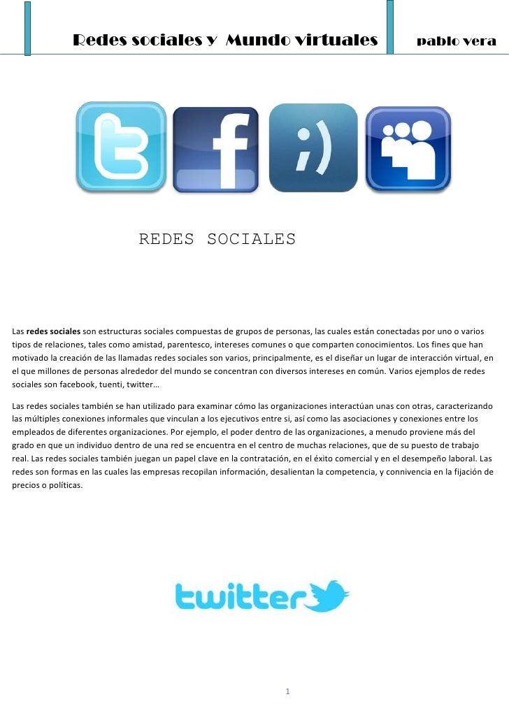 Redes sociales y Mundo virtuales                                                            pablo vera                    ...