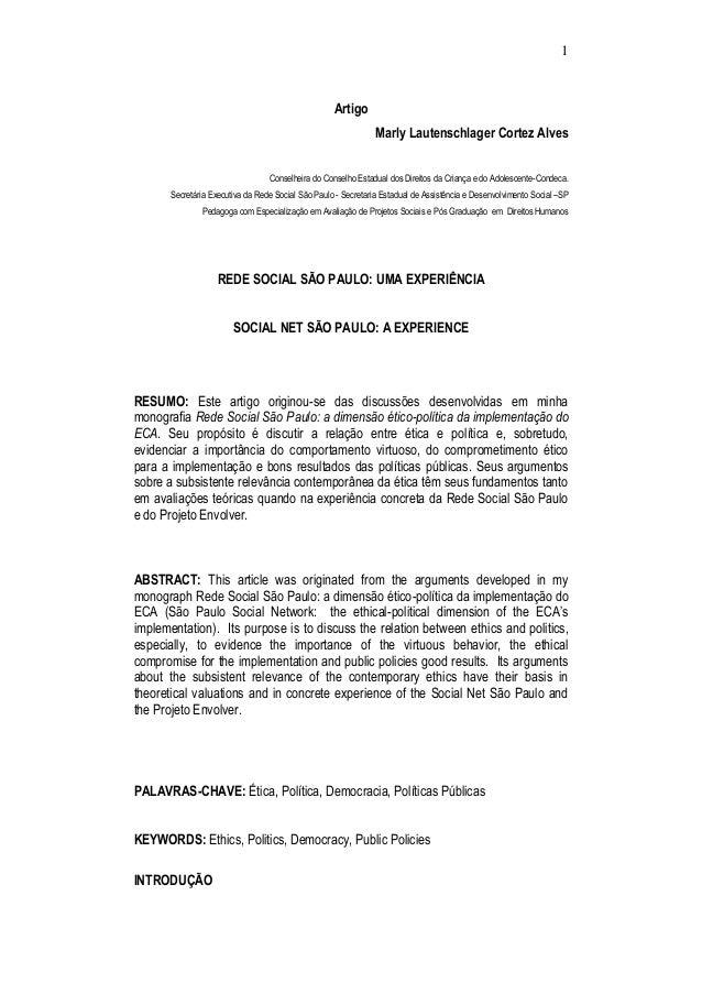 1 Artigo Marly Lautenschlager Cortez Alves Conselheira do Conselho Estadual dos Direitos da Criança e do Adolescente-Conde...