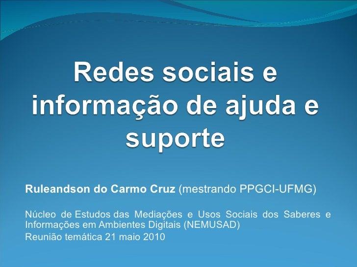Redes sociais e informação de ajuda e suporte