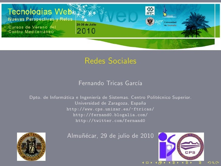 Redes Sociales                        Fernando Tricas Garc´                                           ıa  Dpto. de Inform´...