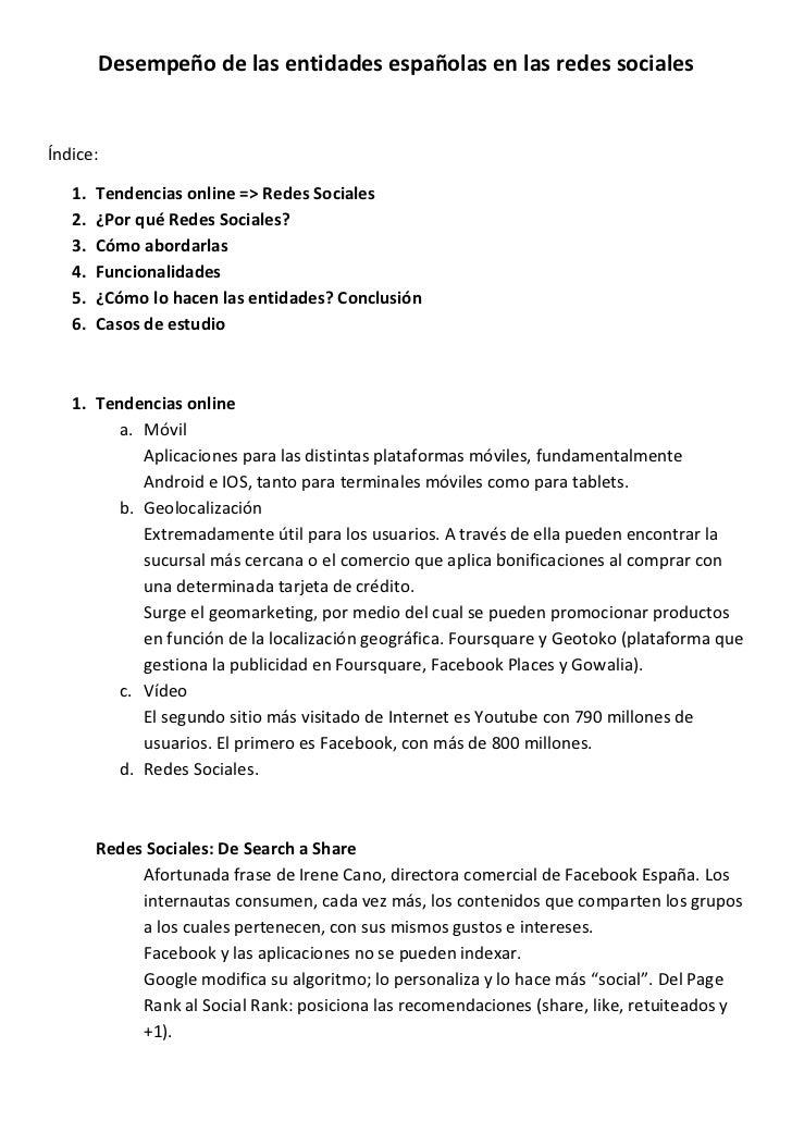 Desempeño de las entidades españolas en las redes sociales                                                       ...