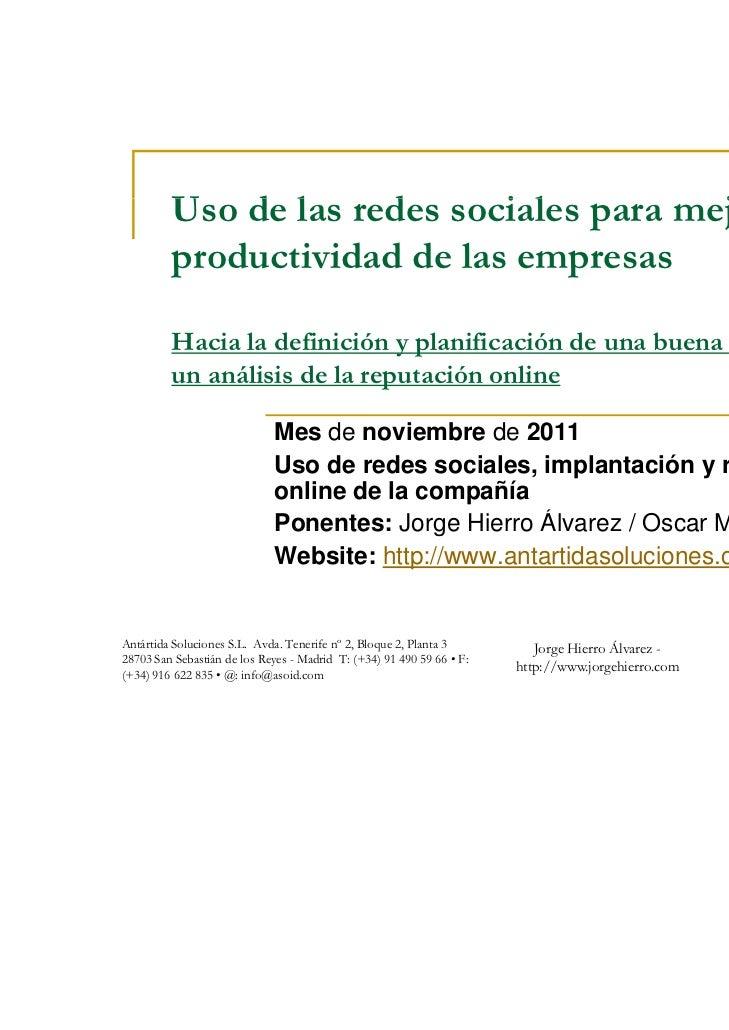 Uso de las d         U d l redes sociales para mejorar l                             i l       j   la         productivida...