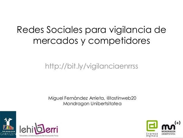 Redes sociales para vigilancia de mercados y competidores