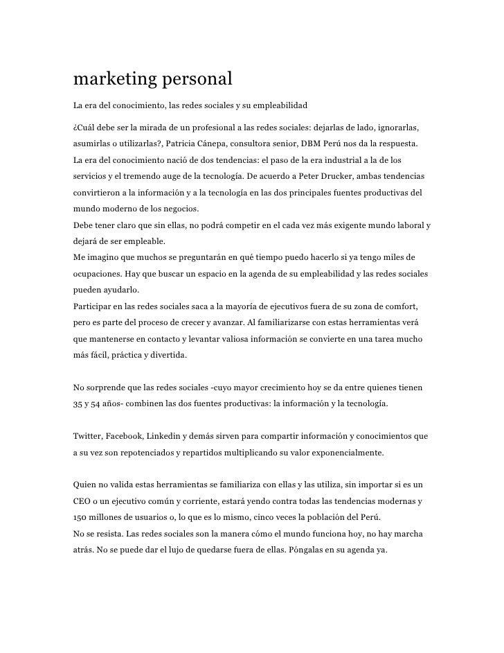marketing personal La era del conocimiento, las redes sociales y su empleabilidad  ¿Cuál debe ser la mirada de un profesio...