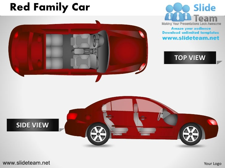 Red Family Car                    TOP VIEW    SIDE VIEWwww.slideteam.net          Your Logo